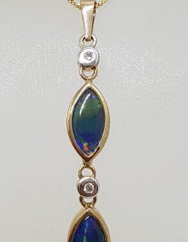 9ct Yellow Gold Opal & Diamond Long Drop Pendant on Gold Chain