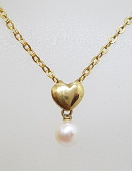 9ct Yellow Gold Pearl on Heart Drop Pendant on Gold Chain