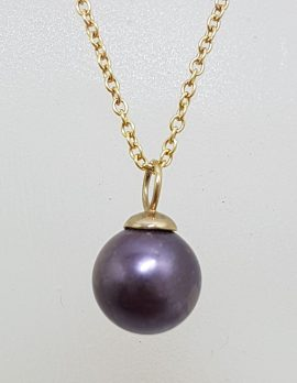 9ct Yellow Gold Black / Blue Pearl Pendant on Gold Chain