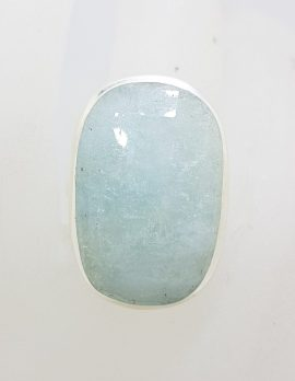 Sterling Silver Large Oval Aquamarine Ring