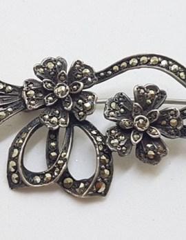 Sterling Silver Ornate Floral Marcasite Brooch - Vintage