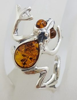 Sterling Silver Natural Baltic Amber Frog Ring