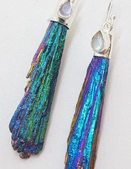 Sterling Silver Black Titanium Kyanite Long Drop Earrings with Moonstone - Peacock / Rainbow Colours