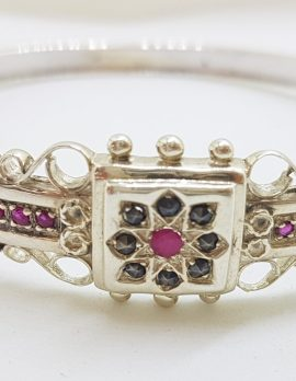 Sterling Silver Ornate Natural Ruby with Marcasite Hinged Bangle