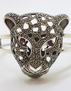 Sterling Silver Very Large Natural Ruby with Marcasite Panther / Cat / Puma Head Hinged Bangle