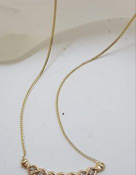 9ct Yellow Gold 7 Diamond Ornate Twist Collier Necklace / Chain