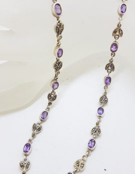 Sterling Silver Marcasite and Amethyst Ornate Leaf Design Collier Necklace / Chain - Vintage