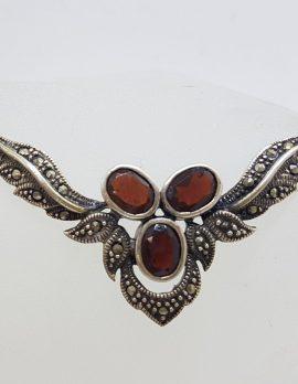 Sterling Silver Marcasite and Garnet Ornate Vintage Necklace