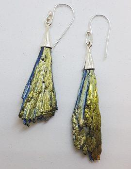 Sterling Silver Black Titanium Kyanite Long Drop Earrings – Yellow and Blue