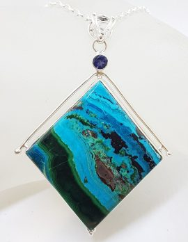 Sterling Silver Large Square Chrysocolla with Iolite Pendant on Silver Chain