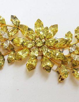 Plated Large Floral Yellow Rhinestone Spray Brooch – Vintage Costume Jewellery