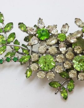 Plated Large Floral Green & Clear Rhinestone Spray Brooch – Vintage Costume Jewellery