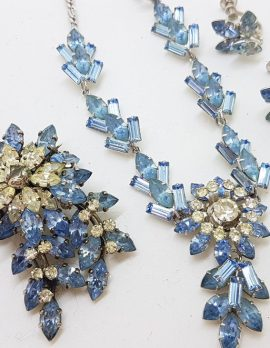 Plated Large Floral Blue and Clear Rhinestone Necklace, Brooch and Screw - On Earring Set – Vintage Costume Jewellery