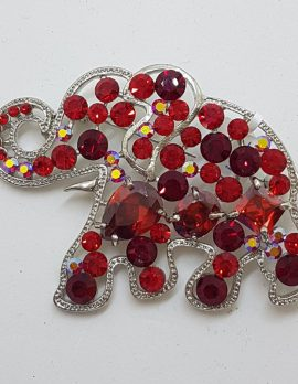 Plated Large Red Elephant Brooch – Costume Jewellery