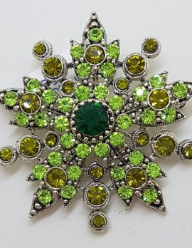 Plated Large Green Flower / Star Brooch – Costume Jewellery