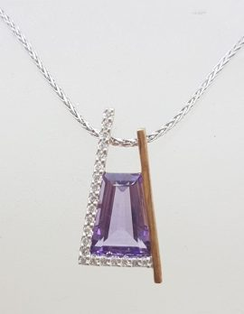 9ct Rose Gold Unique Amethyst and Diamond Pendant on White Gold Chain