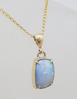 9ct Yellow Gold Rectangular Blue Opal Claw Set Pendant on Gold Chain