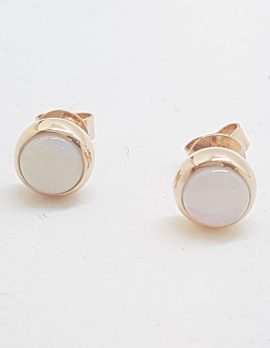 9ct Rose Gold Round Solid Opal Stud Earrings