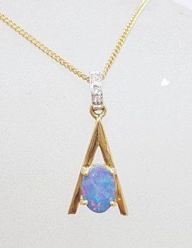 9ct Yellow Gold Opal & Diamond Pendant on Gold Chain