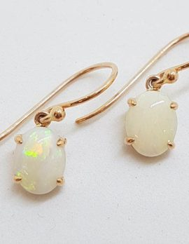 9ct Rose Gold Claw Set Oval Solid Opal Drop Earrings