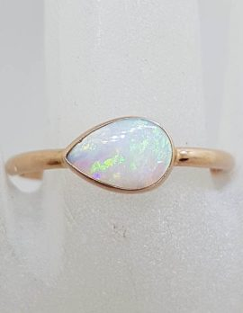 9ct Rose Gold Teardrop / Pear Shape Solid White Opal Ring
