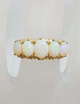 9ct Yellow Gold 5 Oval White Opals Bridge Set Ring - Solid Opal
