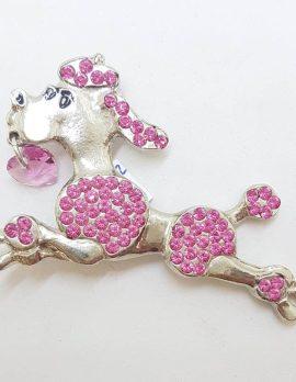 Large Pink Rhinestone Plated Poodle Dog Brooch - Vintage Costume Jewellery