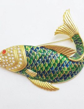 Plated Large Enamel Blue and Green Fish Brooch - Vintage Costume Jewellery