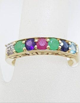 "* SOLD * 9ct Yellow Gold ""Dearest"" Ring – DEAREST Diamond, Emerald, Amethyst, Ruby, Emerald, Sapphire, Topaz"