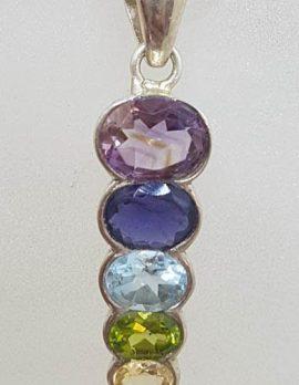 Sterling Silver Long Chakra Pendant on Silver Chain - Amethyst, Carnelian, Citrine, Garnet, Iolite, Peridot and Topaz