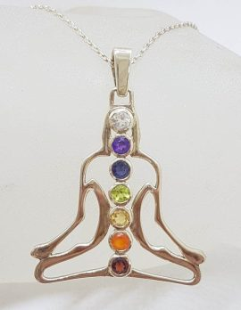 Sterling Silver Yoga / Meditation / Person / Body Shaped Chakra Pendant on Silver Chain – Amethyst, Carnelian, Citrine, Garnet, Iolite, Peridot and Topaz - Available in two sizes
