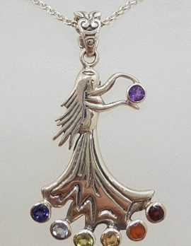 Sterling Silver Multi-Colour Dancing Girl / Woman Shaped Chakra Pendant on Silver Chain - Amethyst, Carnelian, Citrine, Garnet, Iolite, Peridot , and Topaz - Hula Dancer