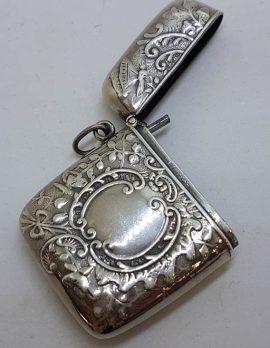 Sterling Silver Ornate Design Rectangular Vesta Case - Hallmarked - Antique / Vintage