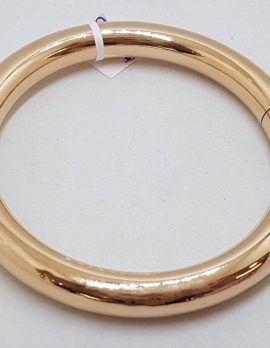 9ct Rose Gold Heavy and Wide Antique Hinged Golf Bangle