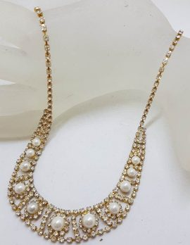 Plated Rhinestone Necklace / Chain - Vintage Costume Jewellery
