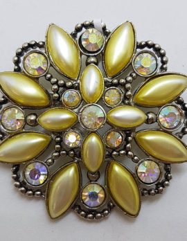 Plated Large Yellow Rhinestone Cluster Round Brooch - Vintage Costume Jewellery