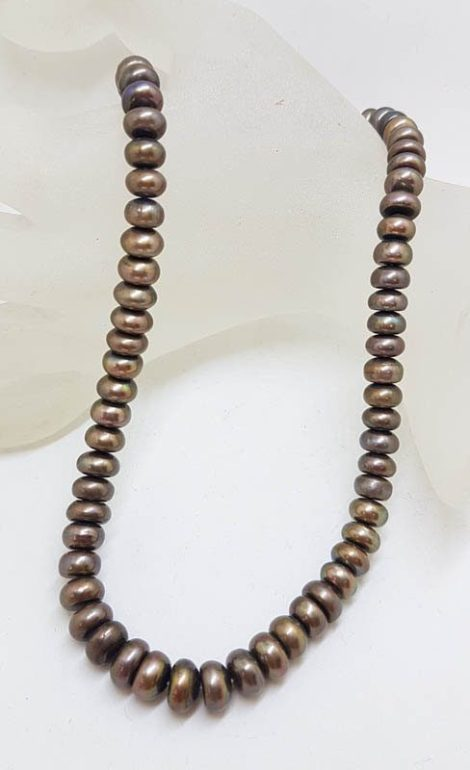 9ct Yellow Gold Clasp on Brown Pearl Strand Necklace
