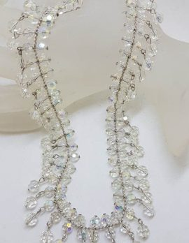 Heavy Crystal Drop Wide Collier Necklace / Chain - Vintage