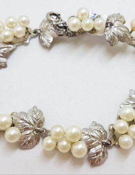 Sterling Silver Stunning Ornate Leaf Design Cultured Pearl Bracelet - Vintage / Antique