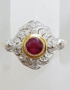 9ct Yellow Gold Natural Ruby & Diamond Large Ornate Cluster Art Deco Style Ring
