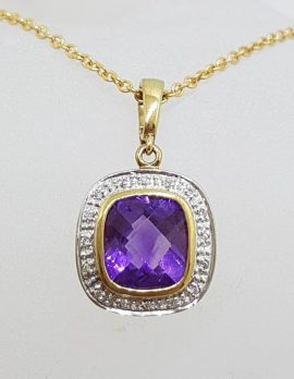 9ct Gold Amethyst and Diamond Square Pendant on 9ct Chain