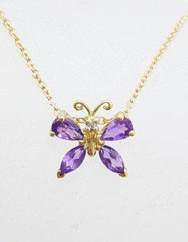 9ct Yellow Gold Amethyst and Diamond Butterfly Pendant on Gold Chain