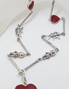 Sterling Silver Red Enamel Heart, Cupid and Cupie Doll Heavy Fob Style Necklace