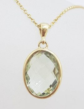 9ct Yellow Gold Oval Green Amethyst / Prasiolite Pendant on 9ct Chain