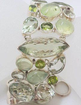 789Sterling Silver Green Amethyst / Prasiolite, Prehnite, Pearl and Peridot Wide Bracelet
