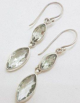 Sterling Silver Green Amethyst / Prasiolite Earrings - Long Drop Marquis Shape