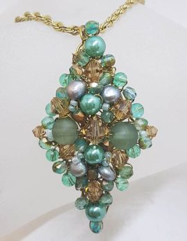 Plated Large Cluster Crystal and Blue Bead Pendant on Chain - Vintage Costume Jewellery