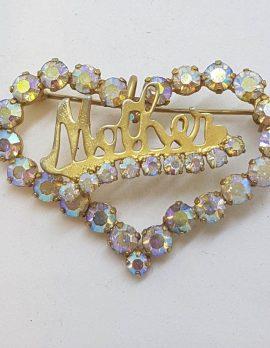 Vintage Costume Jewellery Plated Large Aurora Borealis Rhinestone Mother Heart Brooch