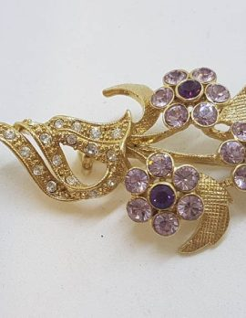 Vintage Costume Jewellery Plated Purple and Clear Rhinestone Floral Brooch