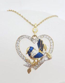Vintage Costume Jewellery Plated Gorgeous Blue Wren Bird Rhinestone Mother Pendant on Chain